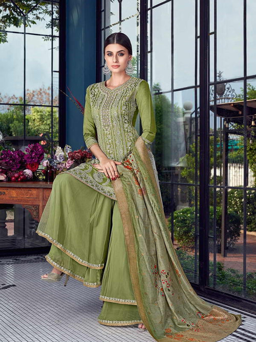 Pista Green Lucknowi Sharara Palazzo Suit