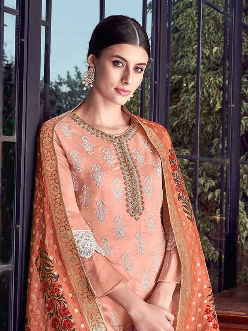 Peach And White Lucknowi Sharara Palazzo Suit