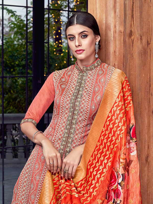 Orange Multi Embroidered Lucknowi Pakistani Pant Suit