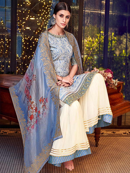 Blue Beige Multi Embroidered Lucknowi Gharara Palazzo Suit