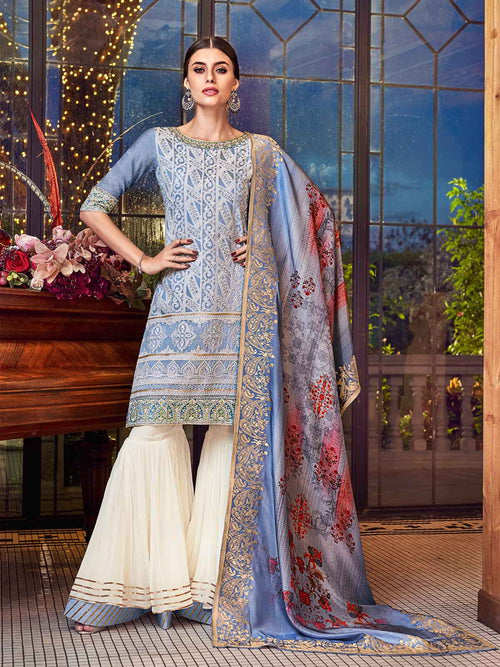 Blue Beige Lucknowi Gharara Palazzo Suit