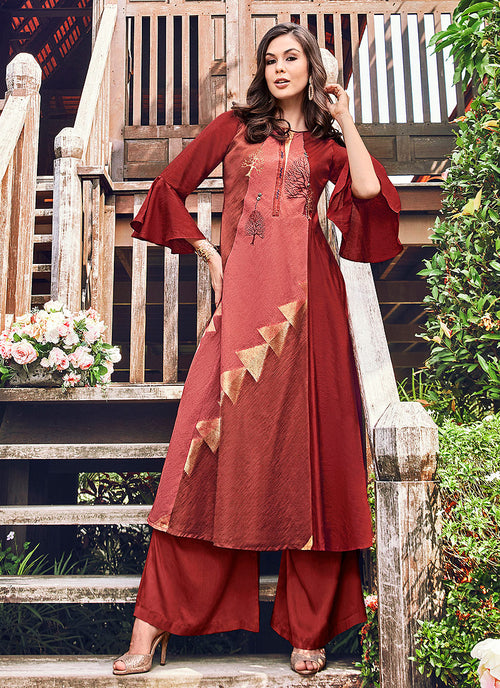 Rustic Red Printed And Embroidered Kurti