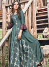 Deep Teal Printed And Embroidered Kurti