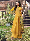 Mustard Yellow Printed And Embroidered Kurti
