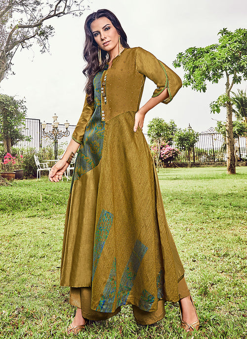 Olive Green Printed And Embroidered Kurti