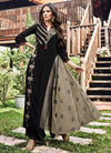 Black And Grey Printed And Embroidered Kurti