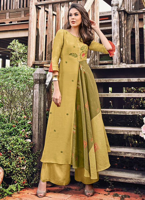 Ochre Yellow Printed And Embroidered Kurti