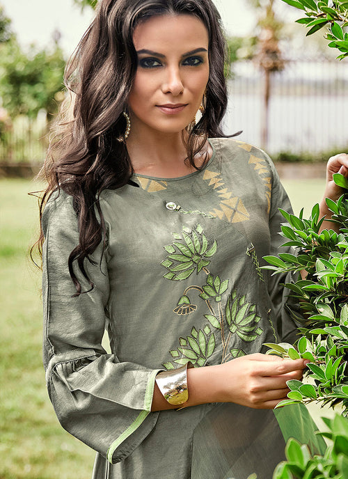 Light Green Printed And Embroidered Kurti