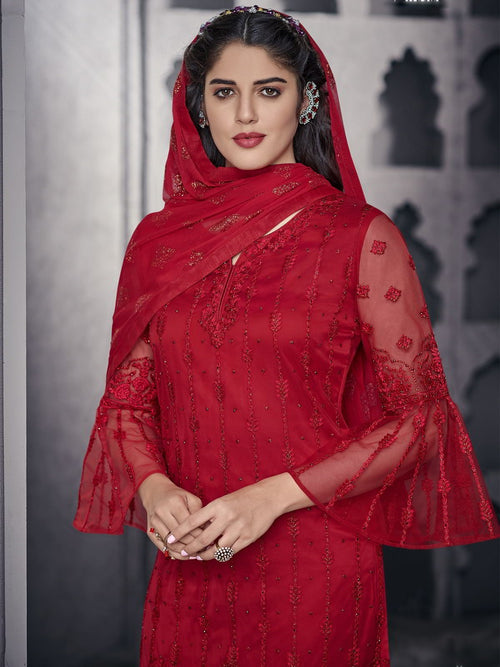 Red All Ethnic Embroidered Pakistani Pant Suit