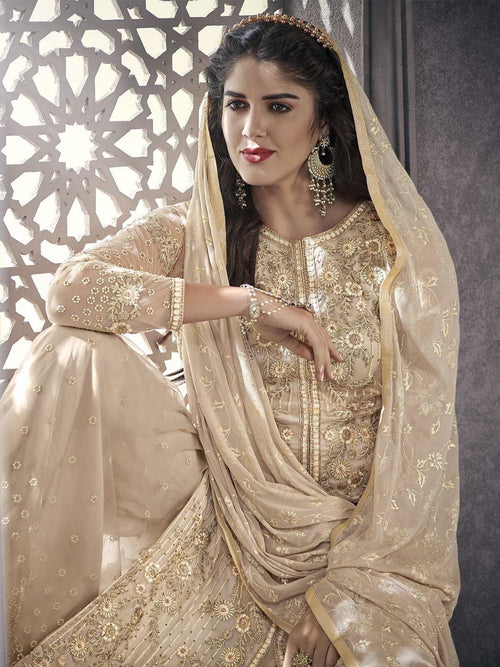 Beige All Ethnic Embroidered Pakistani Palazzo Suit