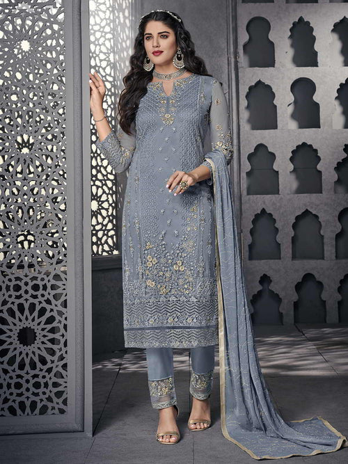 Light Blue Ethnic Embroidered Pakistani Pant Suit