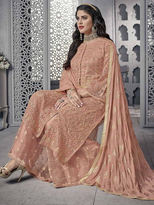 Peach Ethnic Embroidered Pakistani Palazzo Suit