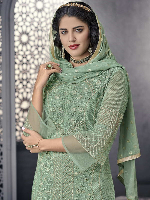 Light Green Ethnic Embroidered Pakistani Pant Suit