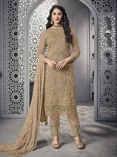 Golden All Ethnic Embroidered Pakistani Pant Suit