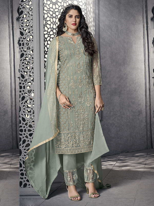 Teal All Ethnic Embroidered Pakistani Pant Suit