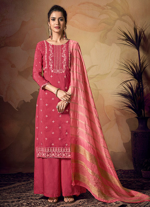 Indian Clothes - Deep Pink Zari Embroidered Palazzo Suit