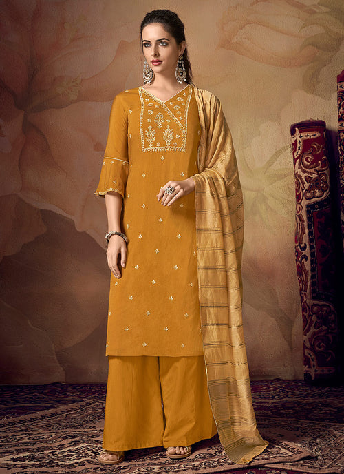 Indian Clothes - Yellow Zari Embroidered Palazzo Suit