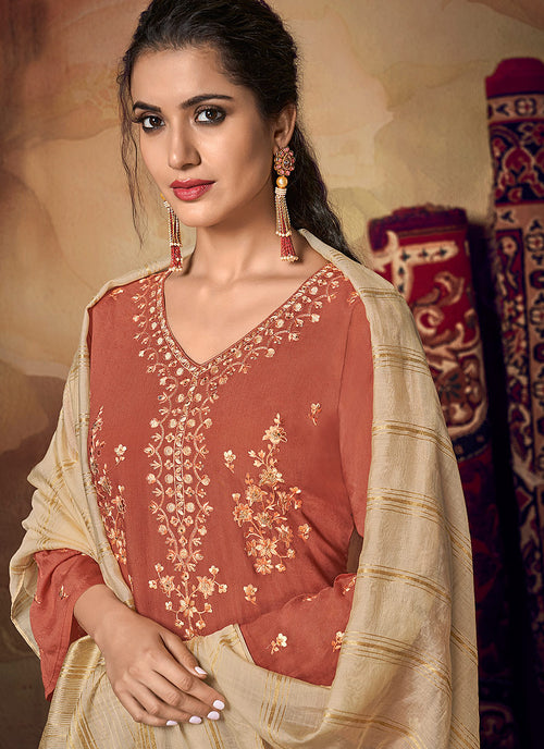 Peach And Beige Zari Embroidered Palazzo Suit, Salwar Kameez