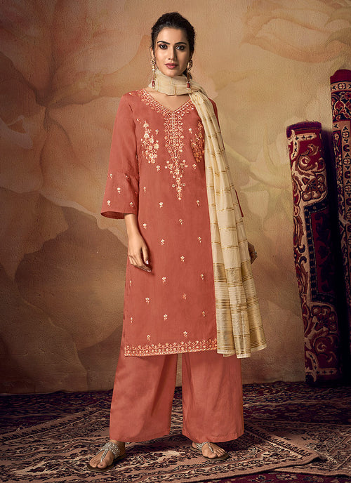 Indian Clothes - Peach And Beige Zari Embroidered Palazzo Suit