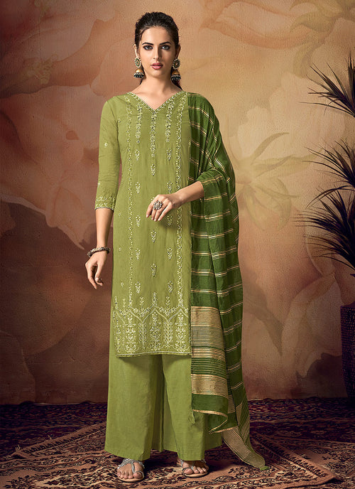 Indian Clothes - Green Zari Embroidered Palazzo Suit