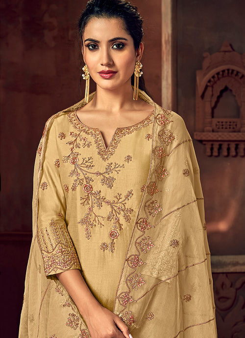 Yellow And Pink Designer Palazzo Suit, Salwar Kameez