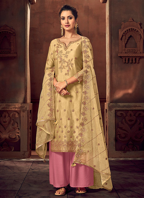 Yellow And Pink Designer Palazzo Suit