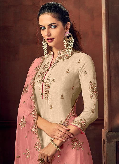 Off White And Peach Designer Palazzo Suit, Salwar Kameez