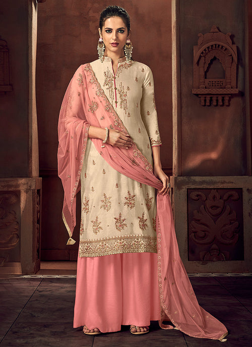 Indian Clothes - Off White And Peach Designer Palazzo Suit