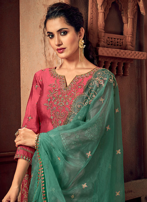 Pink And Green Designer Palazzo Suit, Salwar Kameez