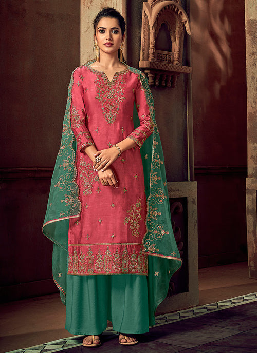 Pink And Green Designer Palazzo Suit