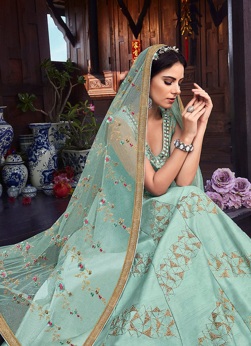 Light Blue Golden Embroidered Silk Anarkali Suit