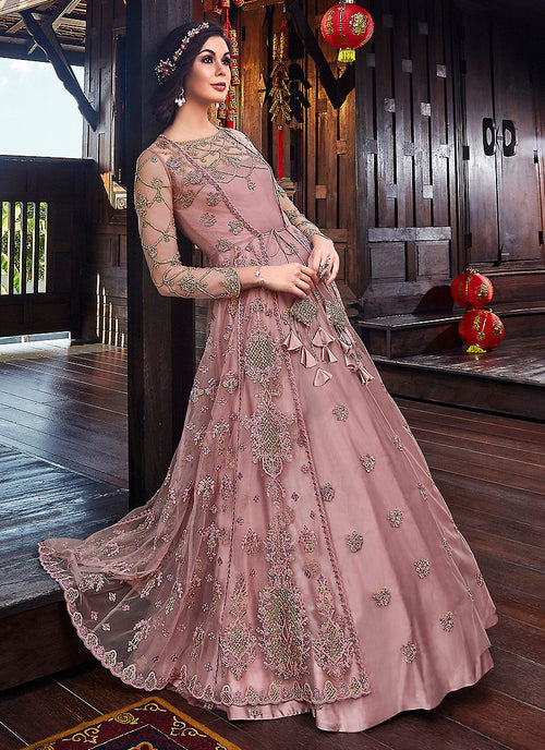Pink Floral Embroidered Anarkali Suit With Jacket