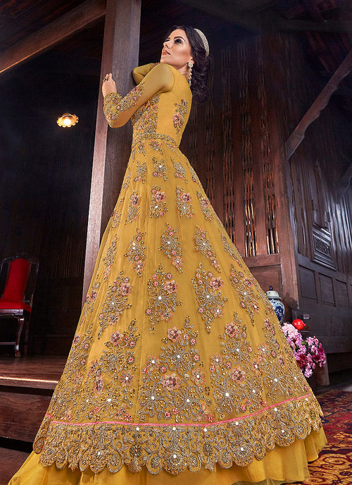 Yellow Floral Anarkali Style Lehenga/Pant Suit