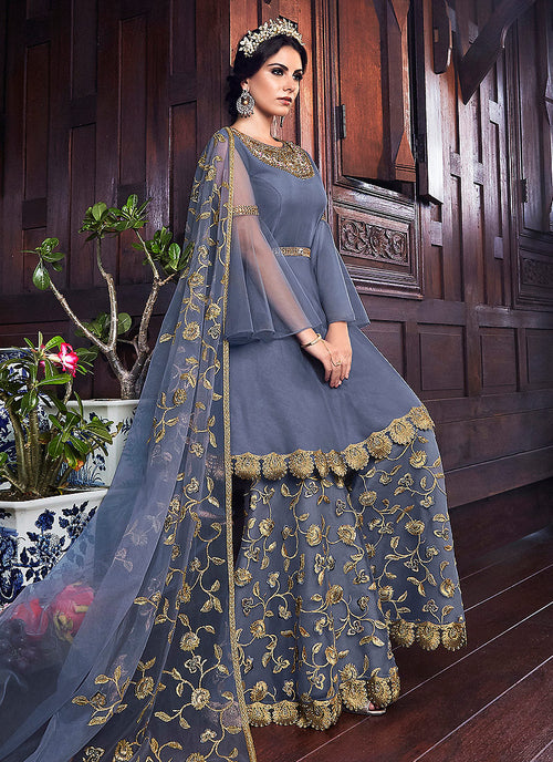 Blue Golden Embroidered Pakistani Sharara Suit
