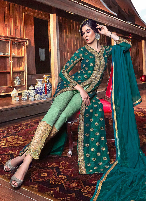 Green Zari Embroidered Anarkali Pants Suit