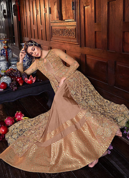 Peach And Golden Zari Embroidered Anarkali Suit