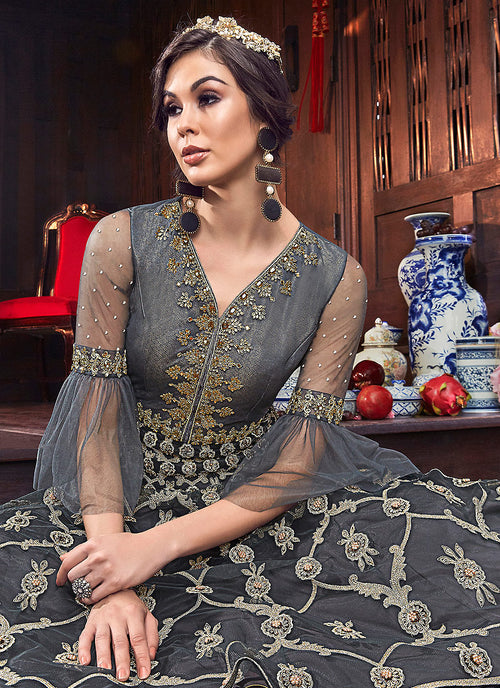 Grey Golden Embroidered Georgette Anarkali Suit