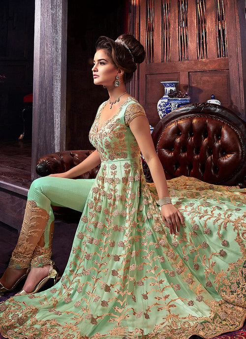 Light Green Golden Anarkali Style Lehenga/Pants Suit