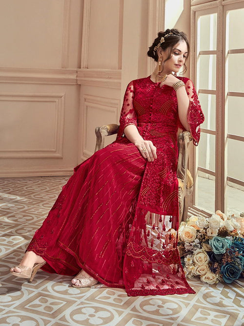Red Rouge Embroidered Designer Lehenga Online