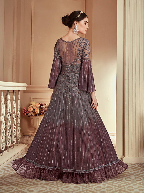 Maroon Grey Zari Embroidered Anarkali Gown Online