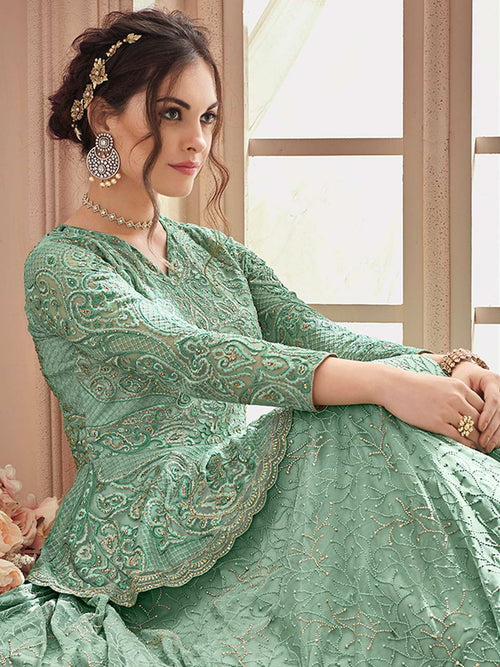 Mint Green Ethnic Embroidered Wedding Lehenga Suit