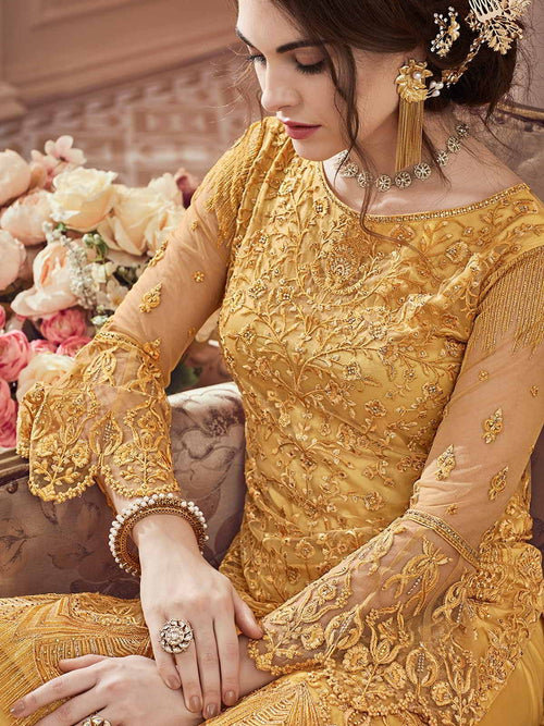 Bright Yellow Heavily Embroidered Festive Palazzo Suit