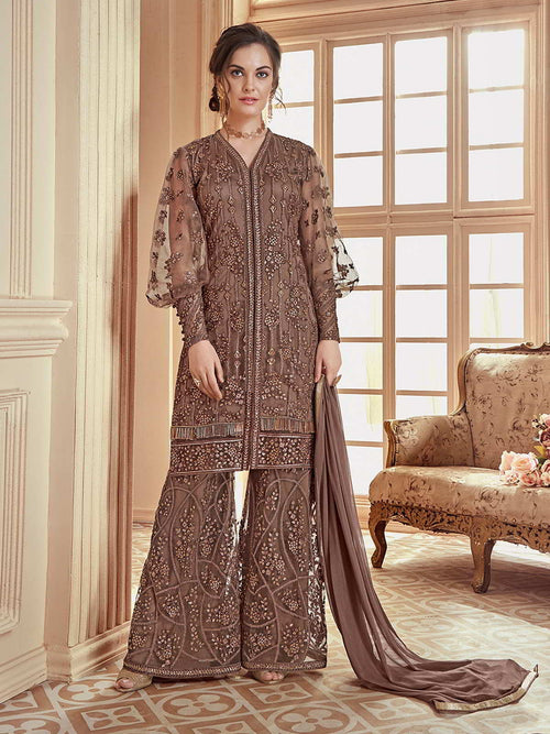 Dusty Brown Embroidered  Palazzo Suit Online