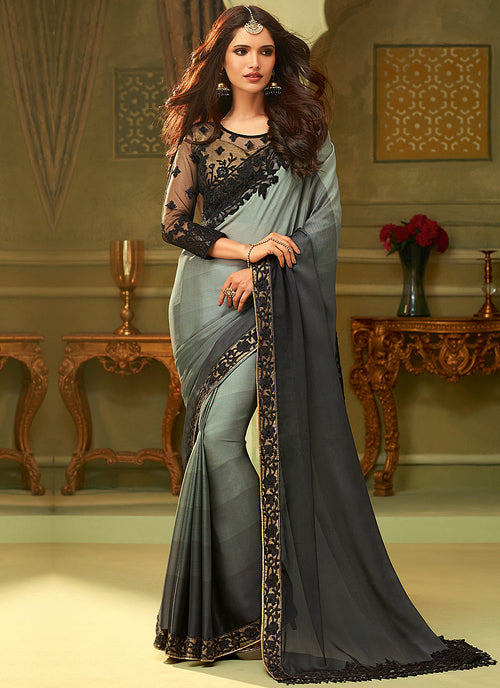 Black And Grey Shaded Minimalist Embroidered Saree