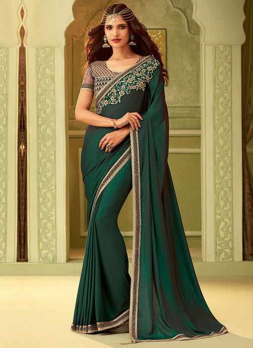 Dark Green And Black Embroidered Saree