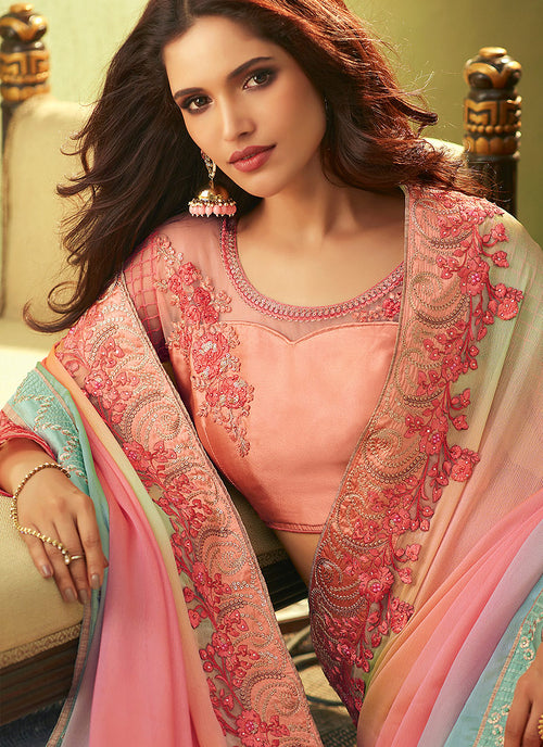 Pink With Multicolour Shaded Embroidered Saree