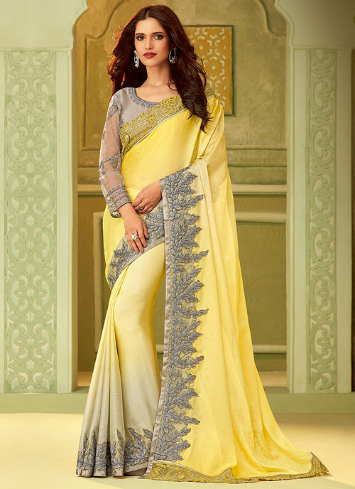 Yellow And Grey Shaded Embroidered Saree