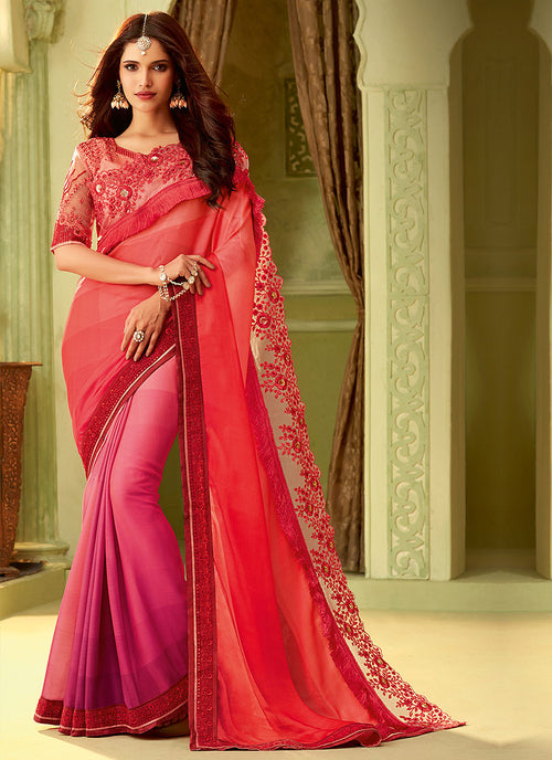 Pink And Orange Shaded Embroidered Saree
