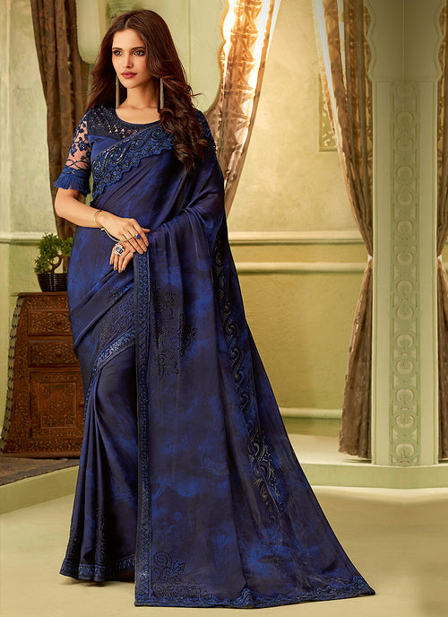 Dark Blue  Overall Designer Minimalist Embroidered Saree