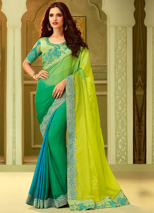 Yellow And Green Shaded Embroidered Saree